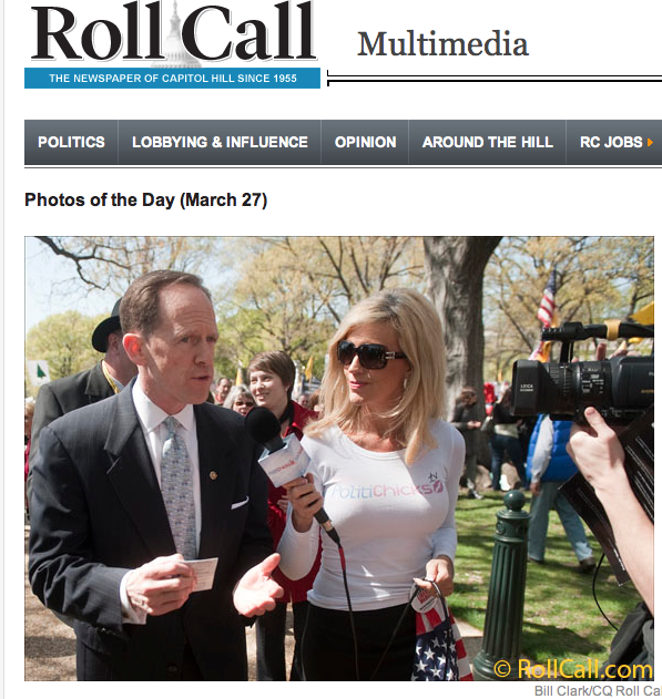 Ann-Marie in D.C. with Sen. Pat Toomey, cover of Roll Call