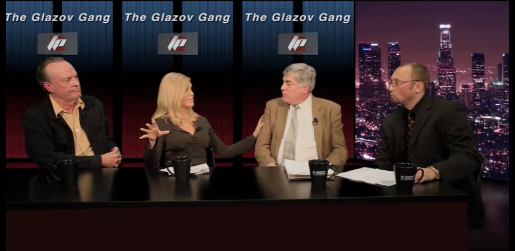 Ann-Marie with Dwight Schultz, Michael Finch, and Dr. Jamie Glazov on the Glazov Gang