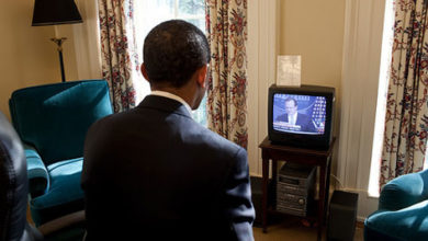 Photo of Obama Getting His Important Info–From TV?
