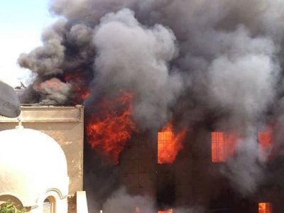 COPTIC ORTHODOX CHURCH DIOCESE OF LOS ANGELES BURNING CHURCH