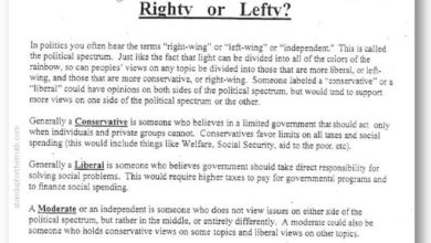 "Photo of ""Are You a Righty or a Lefty?"" Common Core Political Survey for SIXTH GRADERS"