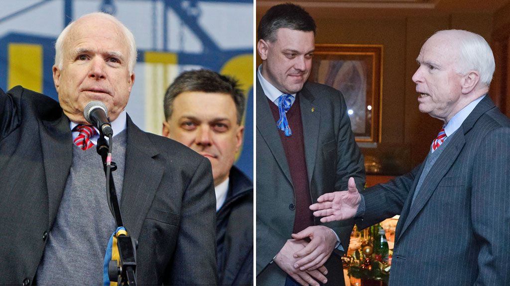 John McCain with Oleh Tyahnybok in Kiev