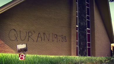 Photo of Southern Indiana Churches Spray-Painted with Koran Verses