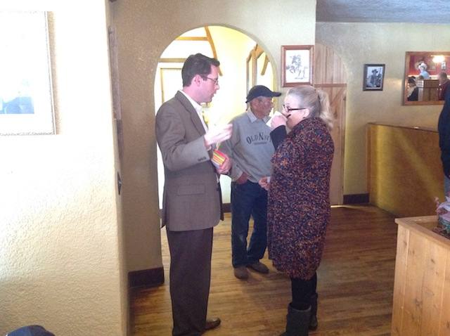 State Chair Ryan Call speaks with Carole Naro