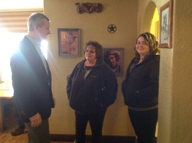 State party secretary welcomes Karen Garcia and Najondine Placek from the Costilla County Clerk's office.
