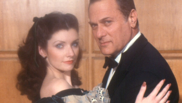 "Morgan Brittany starring as Vivien Leigh with Tony Curtis in ""The Scarlett O'Hara War"""
