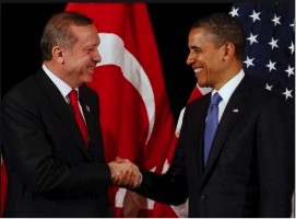 Turkish President Recep Tayyip Erdogan (left) with Barack Obama (right).