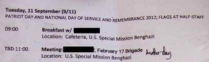 E-mail to Amb. Christopher Stevens from September 11, 2012 detailing his schedule.