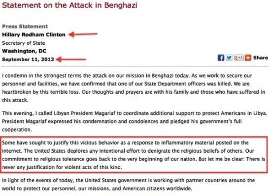 Hillary Clinton's statement on Benghazi.