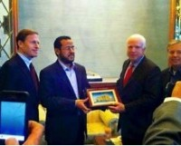 Sens. John McCain and Lindsey Graham awarding a commendation to Abdelhakim Belhadj, the current leader of ISIS in Libya.