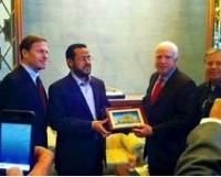 Sens. John McCain and Lindsey Graham awarding a commendation to Abdelhakim Belhadj, the current leader of ISIS in Libya.