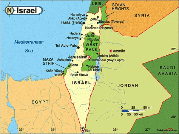 Political map of Egypt, Israel, Jordan, Syria, Lebanon and the Sinai Peninsula.