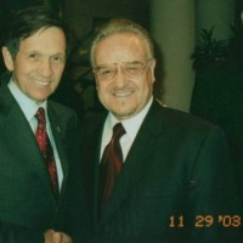 Rep. Dennis Kucinich with Chairman Bassam Estwani in 2003.