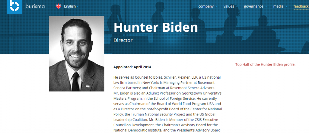 Top Half of Hunter Biden Profile