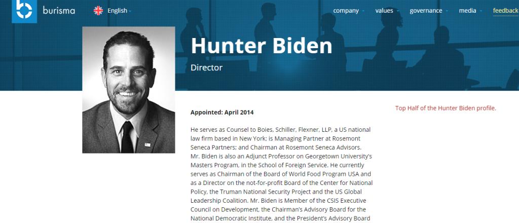 Top Half of Hunter Biden Profile