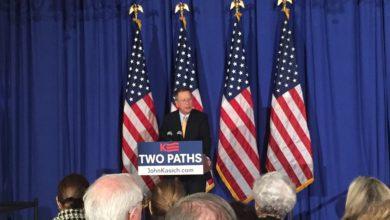 "Photo of John Kasich Warns GOP of ""Two Paths"" in Manhattan"