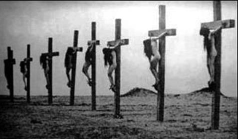 A still frame from the 1919 documentary film Auction of Souls, which portrayed eye witnessed events from the Armenian Genocide, including crucified Christian girls. www.raymondibrahim.com