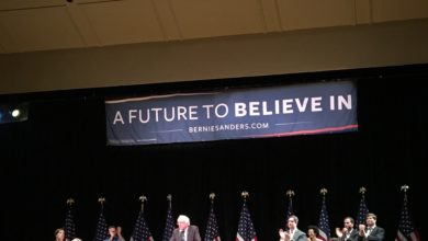 "Photo of Bernie Sanders in NYC Talking About ""What's Next"""