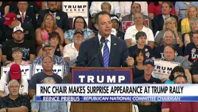 Photo of RNC Chair Stands By Donald Trump at Rally in Erie, PA