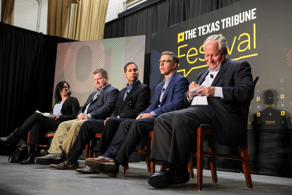 """Erica Grieder, senior editor at Texas Monthly, moderated the """"Future of Conservatism"""" panel featuring Erick Erickson, Bill Kristol, Matt K. Lewis and Avik Roy at The Texas Tribune Festival on Sept. 24, 2016. Photo by Steve Moakley"""