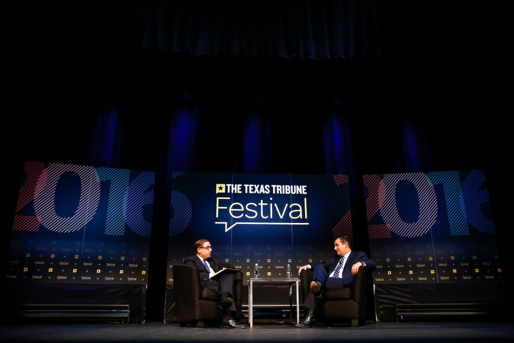 U.S. Sen. Ted Cruz, R-Texas, is interviewed by Texas Tribune CEO Evan Smith at The Texas Tribune Festival on Sept. 24, 2016. Photo by Erich Schlagel