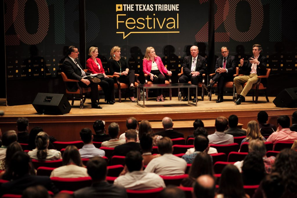 "Jim Henson, director of the Texas Politics Project, moderated the ""Senate Agenda"" panel featuring Dawn Buckingham, Konni Burton, Sylvia Garcia, Juan ""Chuy"" Hinojosa, José Rodríguez and Van Taylor at The Texas Tribune Festival on Sept. 24, 2016. Photo by Brett Buchanan"