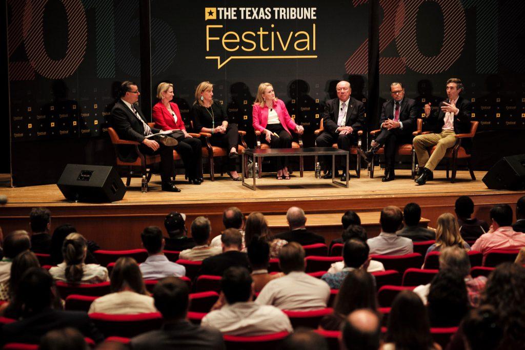 "Jim Henson, director of the Texas Politics Project, moderated the ""Senate Agenda"" panel featuring Dawn Buckingham, Konni Burton, Sylvia Garcia, Juan ""Chuy"" Hinojosa, José Rodríguez and Van Taylor at The Texas Tribune Festival on Sept. 24, 2016. Photo by Brett Buchanan"