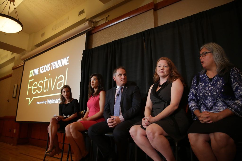 """Morgan Smith, reporter for The Texas Tribune, moderated the """"Politics of Prevention: The Abortion Battle, Continued"""" panel featuring Heather Busby, Emily K. Cook, Jessica Farrar and Bryan Hughes at The Texas Tribune Festival on Sept. 24, 2016."""