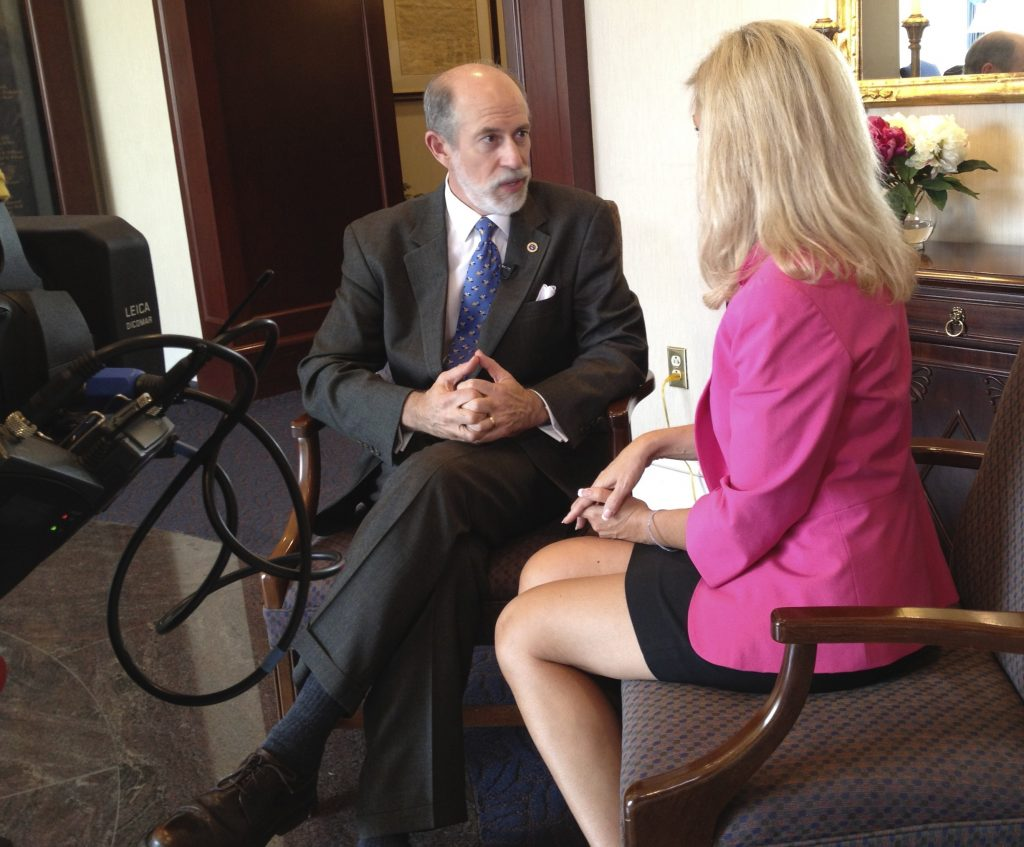 Ann-Marie Murrell interviewing Frank Gaffney, Heritage Foundation bldg. DC.
