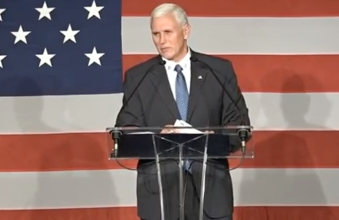 """Photo of Mike Pence to Miami Crowd: """"You Gotta Have Faith"""""""