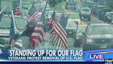 Photo of Veterans Protest at Massachusetts College That Removed US Flag
